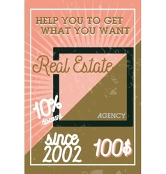 Color vintage real estate agency banner vector image vector image