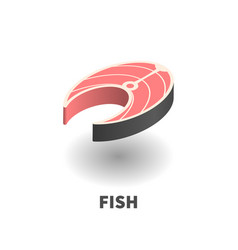fish slice icon symbol vector image