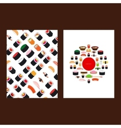 Japanese food sushi menu cover vector image