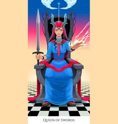 queen of swords tarot card vector image