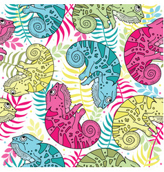 seamless pattern of colorful chameleons in cartoon vector image