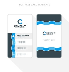 Vertical Double-sided Business Card Template Blue vector image