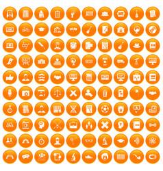 100 student icons set orange vector