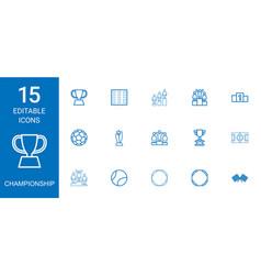 15 championship icons vector