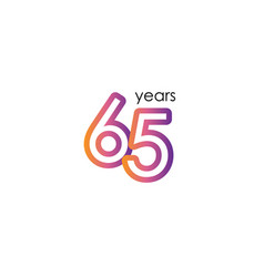 65 years anniversary color full elegant vector