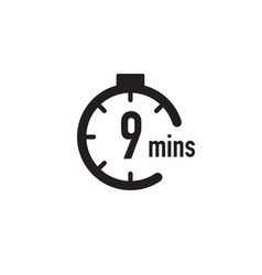 9 minutes timer stopwatch or countdown icon time vector