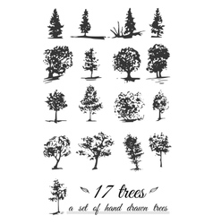 A set of hand-drawn trees vector image