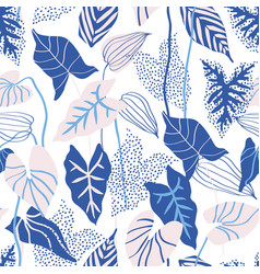 abstract tropical leaves with line dots textures vector image