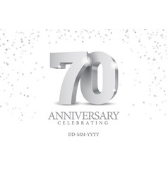 Anniversary 70 silver 3d numbers vector