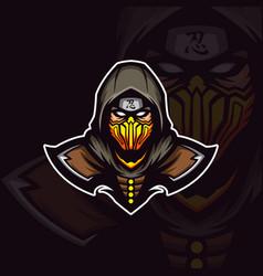 Assasins ninja on yellow mask mascot vector