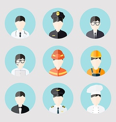 Avatar business users flat icons set of doctor vector image