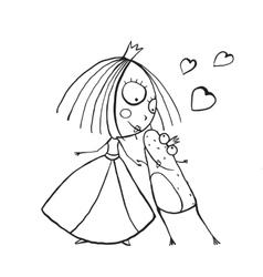 Baby Princess and Prince Frog Kissing Coloring vector image