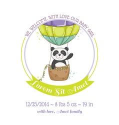 Baby shower card - panda and air balloon vector