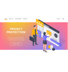 banner privacy protection website isometric vector image