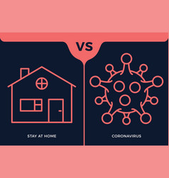 Banner stay at home icon vs or versus coronavirus vector