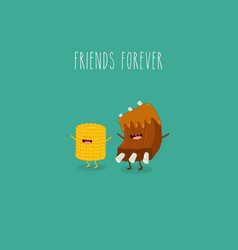 Barbecue ribs and corn friends forever vector