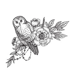 black and white owl peony vector image