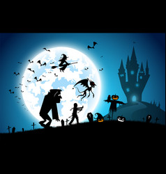 Blue backgroundfestival halloween conceptfull vector