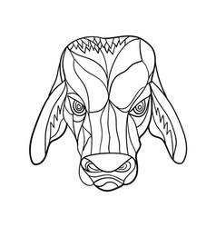 Brahma bull head mosaic black and white vector