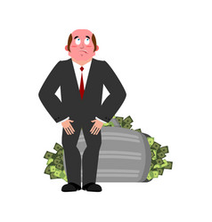 bribe taker and suitcase of money shame boss fie vector image
