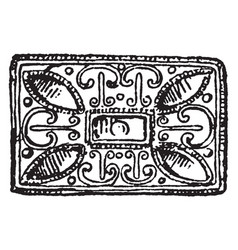 Buckle rectangular anglo-saxon vintage engraving vector