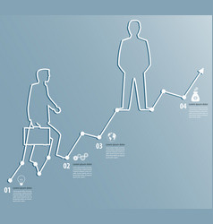 Business graph with a man going to succeed vector