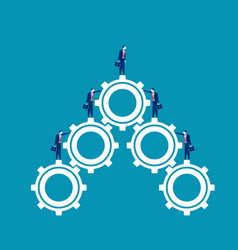 business team standing on gears concept business vector image