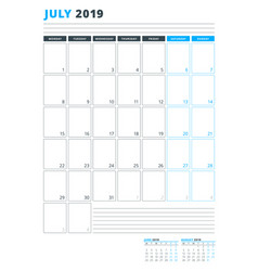 Calendar template for july 2019 business planner vector