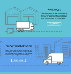 cargo and warehouse horizontal banner templates in vector image