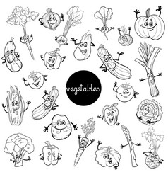 cartoon vegetables characters set color book vector image