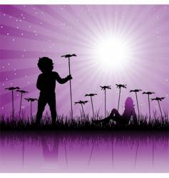 child on floral field vector image