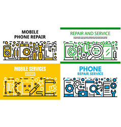 City mobile phone repair banner set outline style vector
