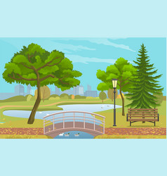 city park with a lawn and trees flat style green vector image