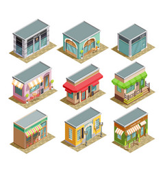 Coffee house isometric set vector