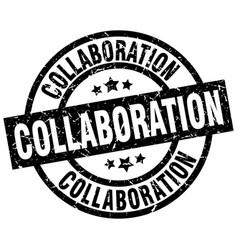 Collaboration round grunge black stamp vector