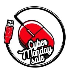 Color vintage cyber monday emblem vector image