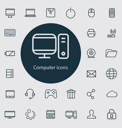 computer outline thin flat digital icon set vector image