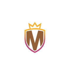 creative royal shield m letter logo design vector image