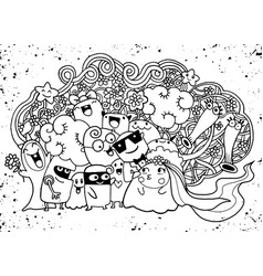Cute doodle monster group drawing style vector