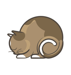 Cute sleepy brown cat vector