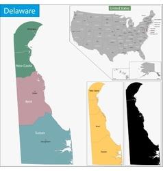 Delaware map vector image