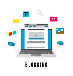 development and publication blog post website vector image