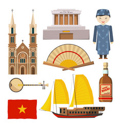 Different pictures vietnam symbols isolate on vector
