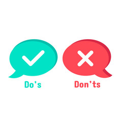 Do and dont icons speech bubble checklist element vector