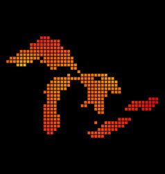 Dot fire great lakes map vector