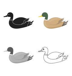 Duck icon in cartoon style isolated on white vector