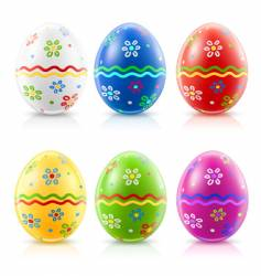 Easter eggs with traditional ornament vector image
