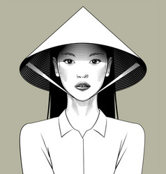 eastern girl in asian conical hat vector image