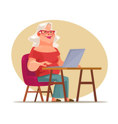 Elderly woman character chatting network vector