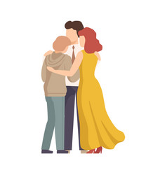 Family members embracing and soothing each other vector